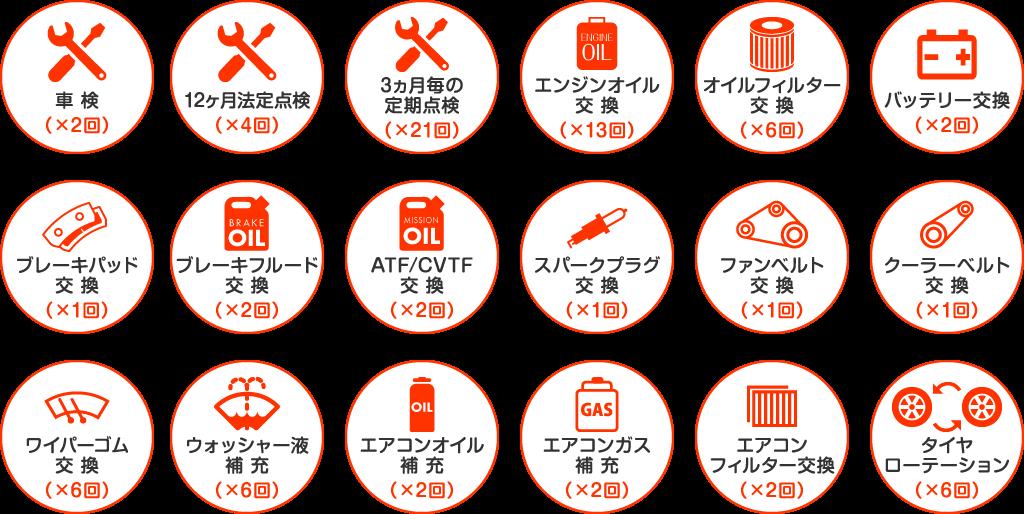 車検、法定点検、エンジンオイル交換、バッテリー交換、タイヤローテーションなど